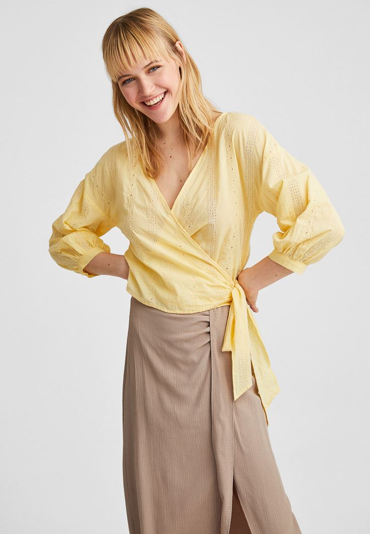 Yellow Crossover Blouse