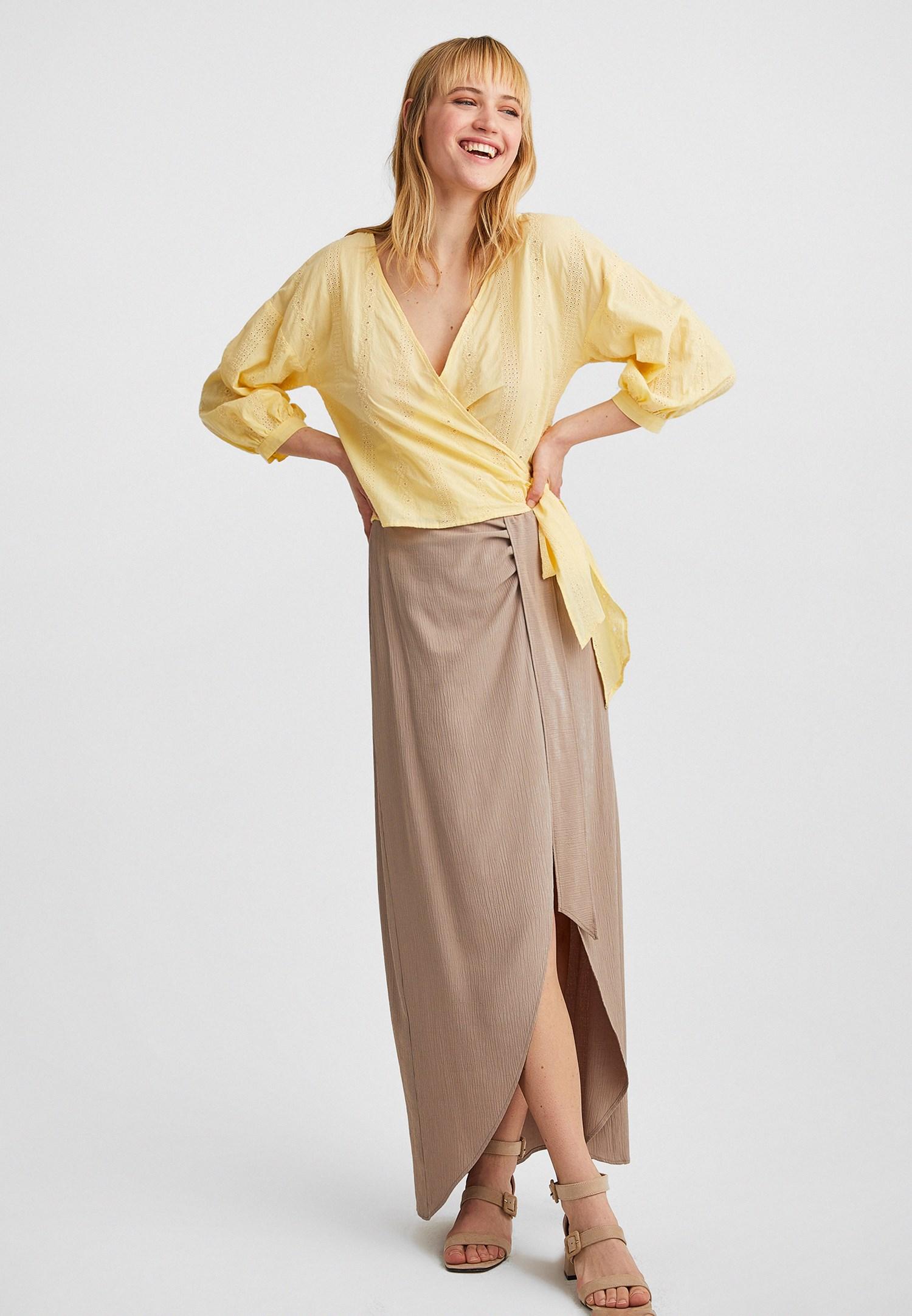 Bayan Sarı Kruvaze Yaka Bluz