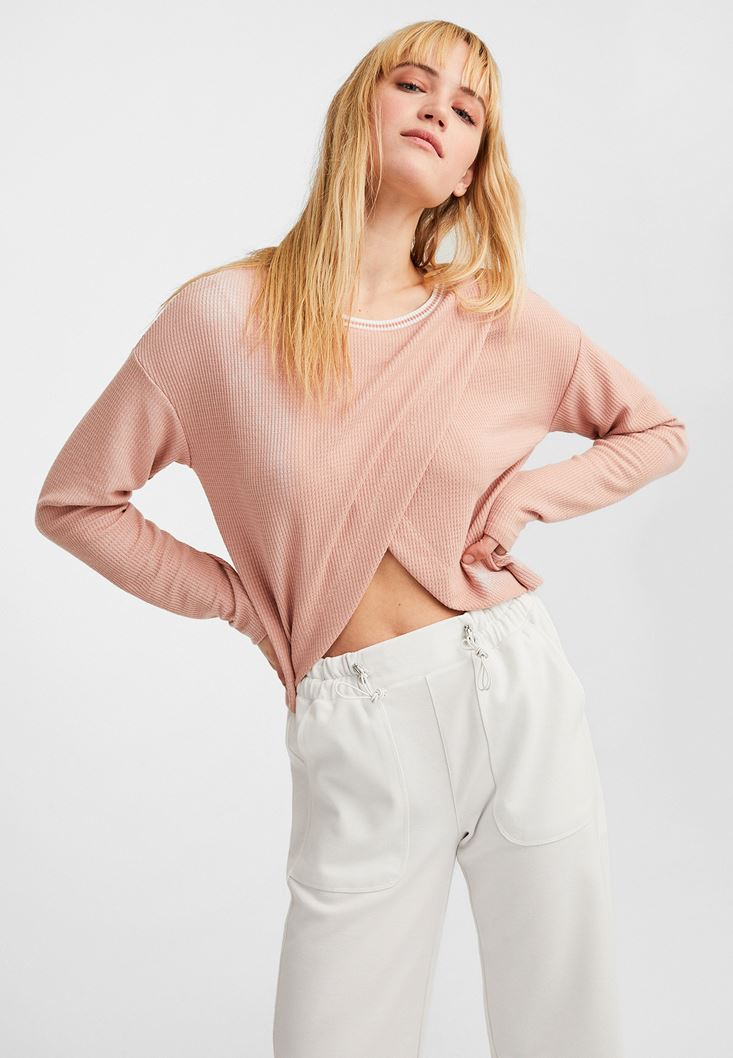 Pink Crossover Crop Pullover