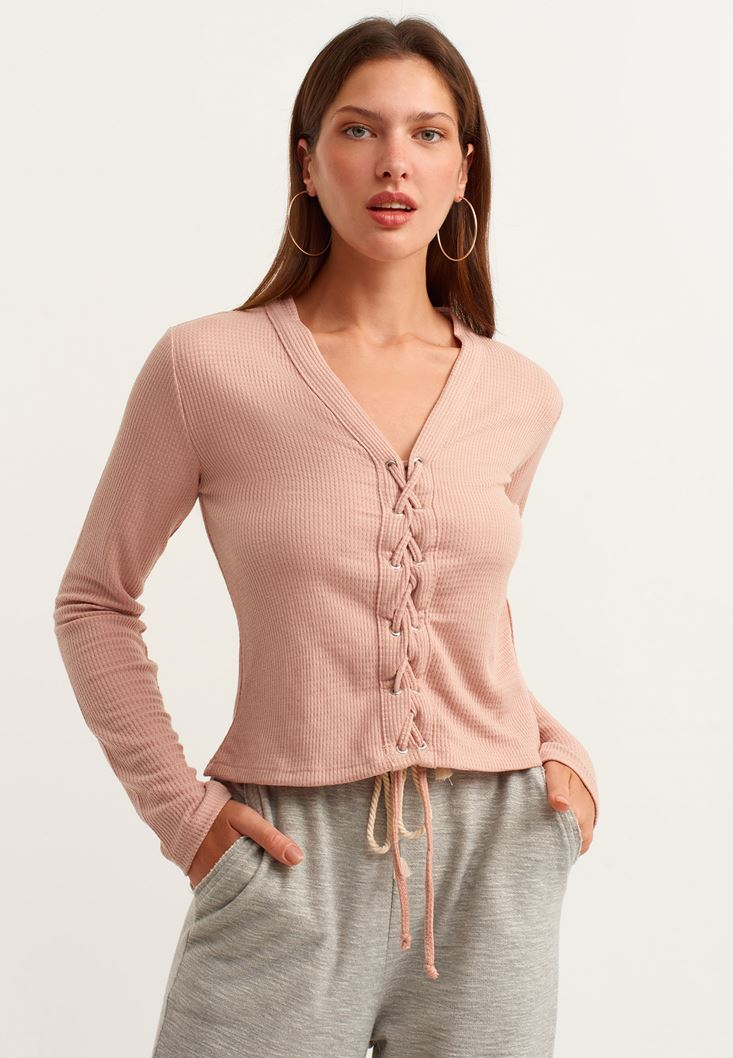 Pink Lace-up Detailed Pullover