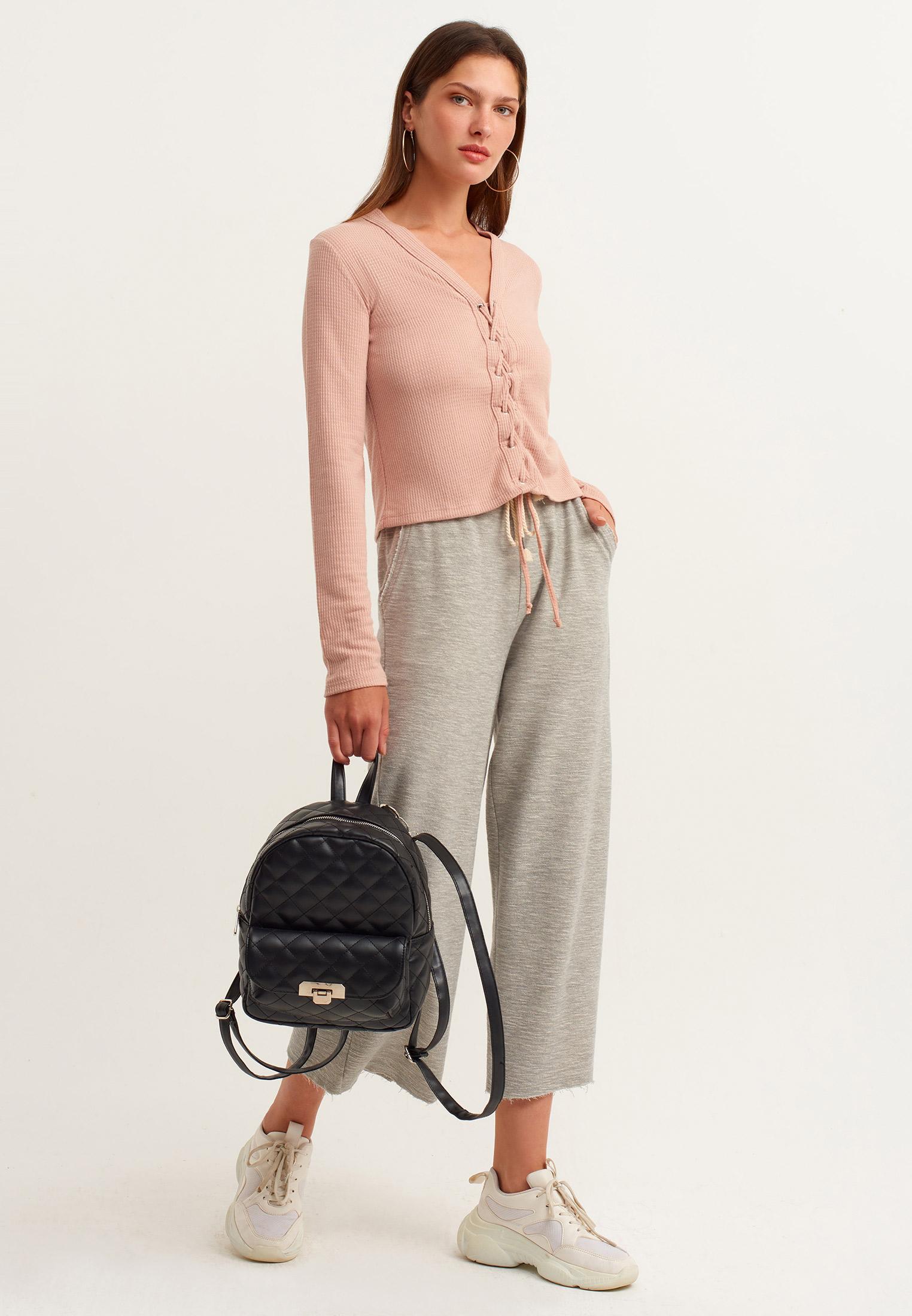Bayan Pembe Önü Bağlama Detaylı Bluz