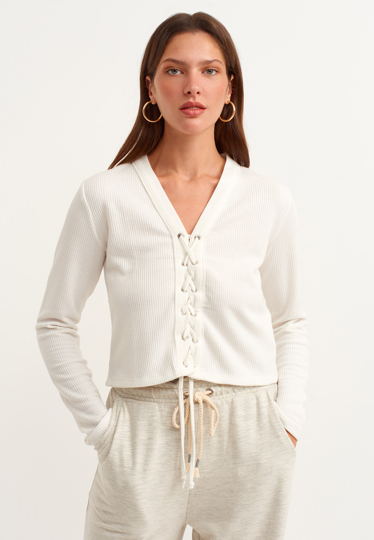 Women Cream Lace-up Detailed Pullover