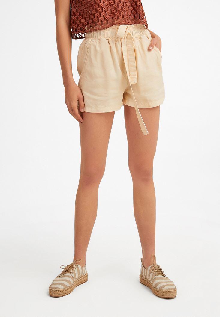 Cream Elastic-Waisted Shorts