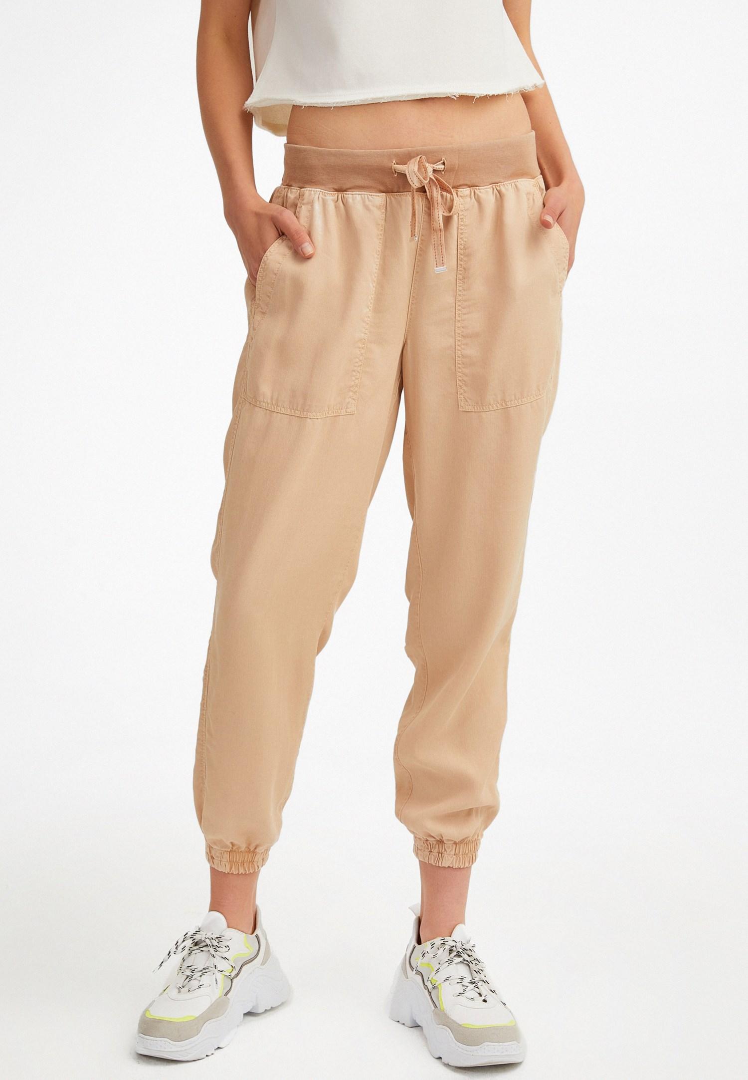 Bayan Krem Beli Lastik Detaylı Jogger Pantolon