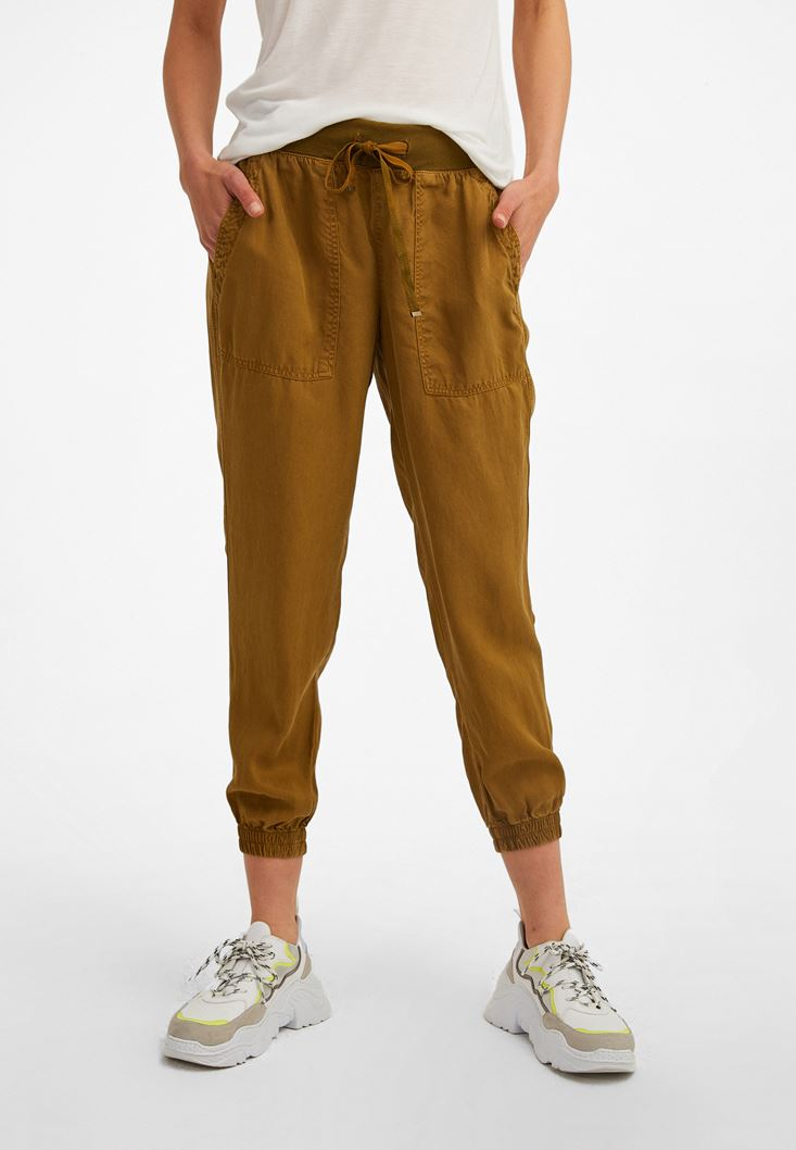 Yeşil Beli Lastik Detaylı Jogger Pantolon