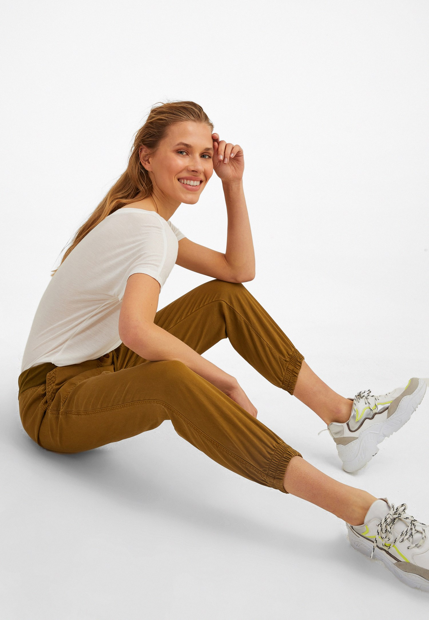 Bayan Yeşil Beli Lastik Detaylı Jogger Pantolon