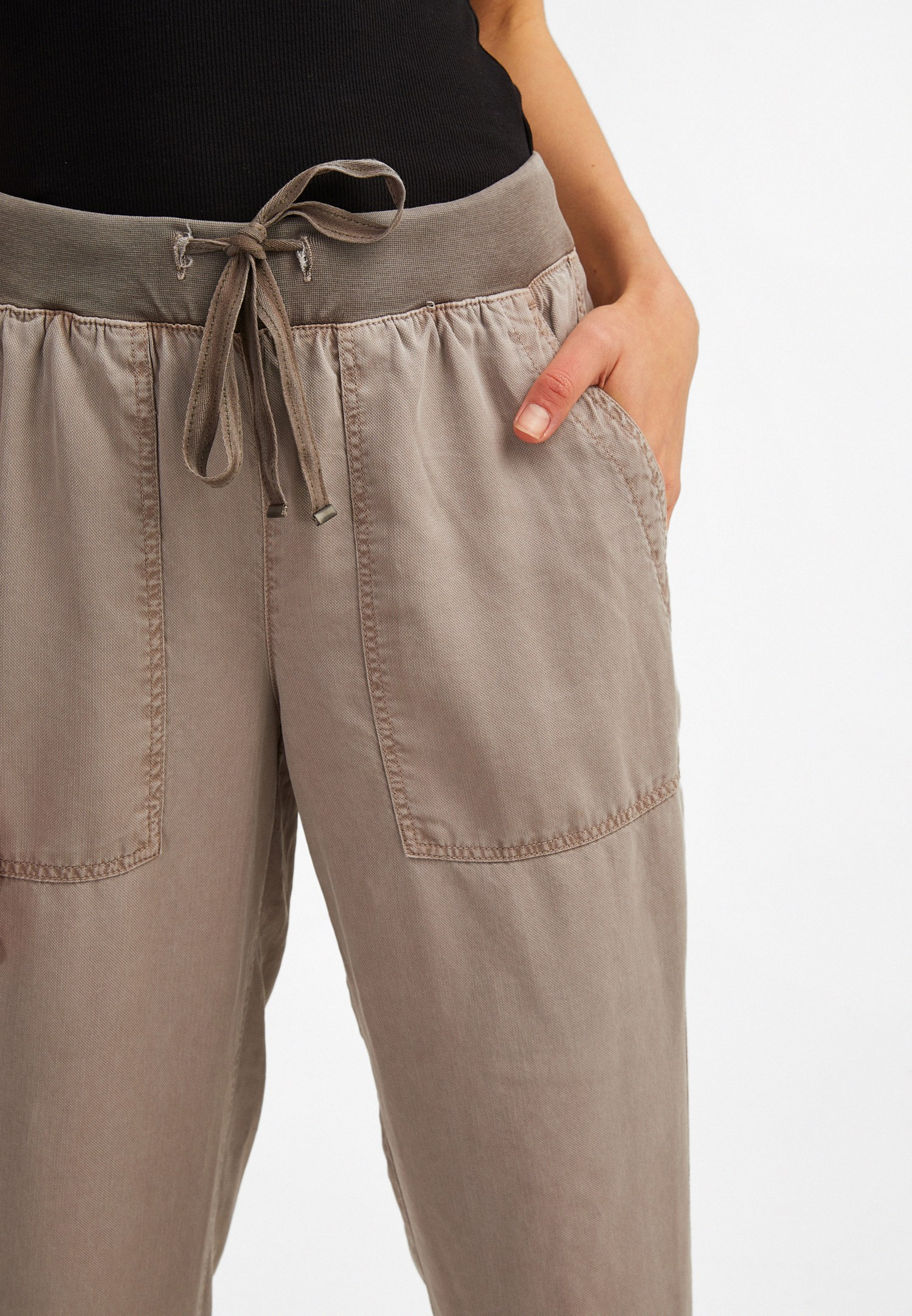 Bayan Gri Beli Lastik Detaylı Jogger Pantolon