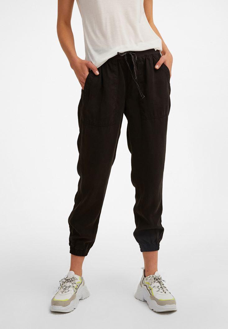 Siyah Beli Lastik Detaylı Jogger Pantolon