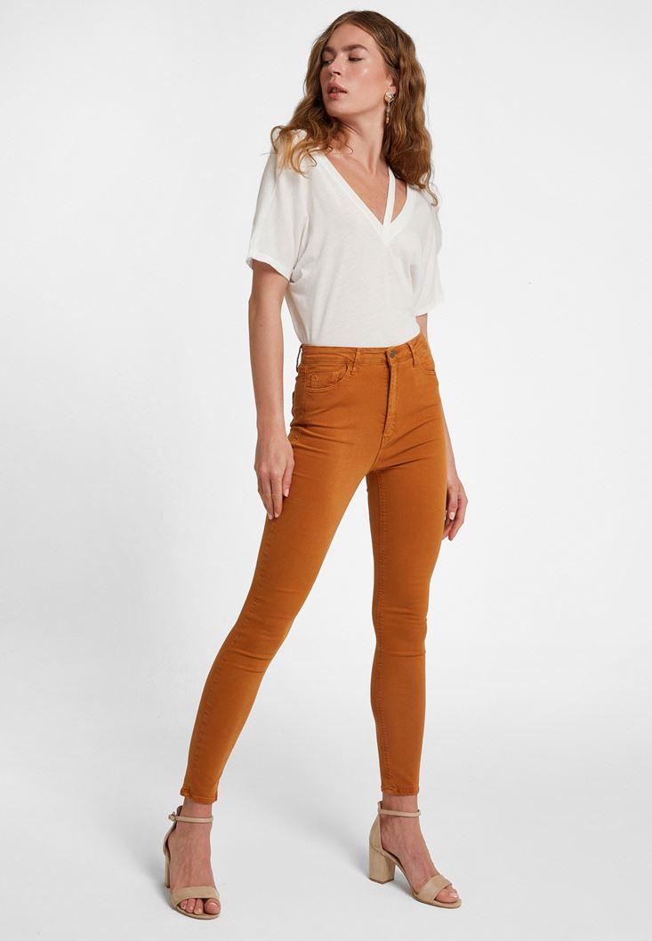 Kahverengi Yüksek Bel Pantolon