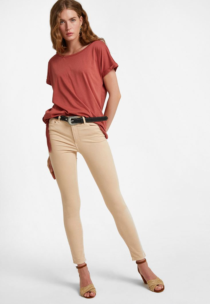 Cream High Rise Skinny Jeans