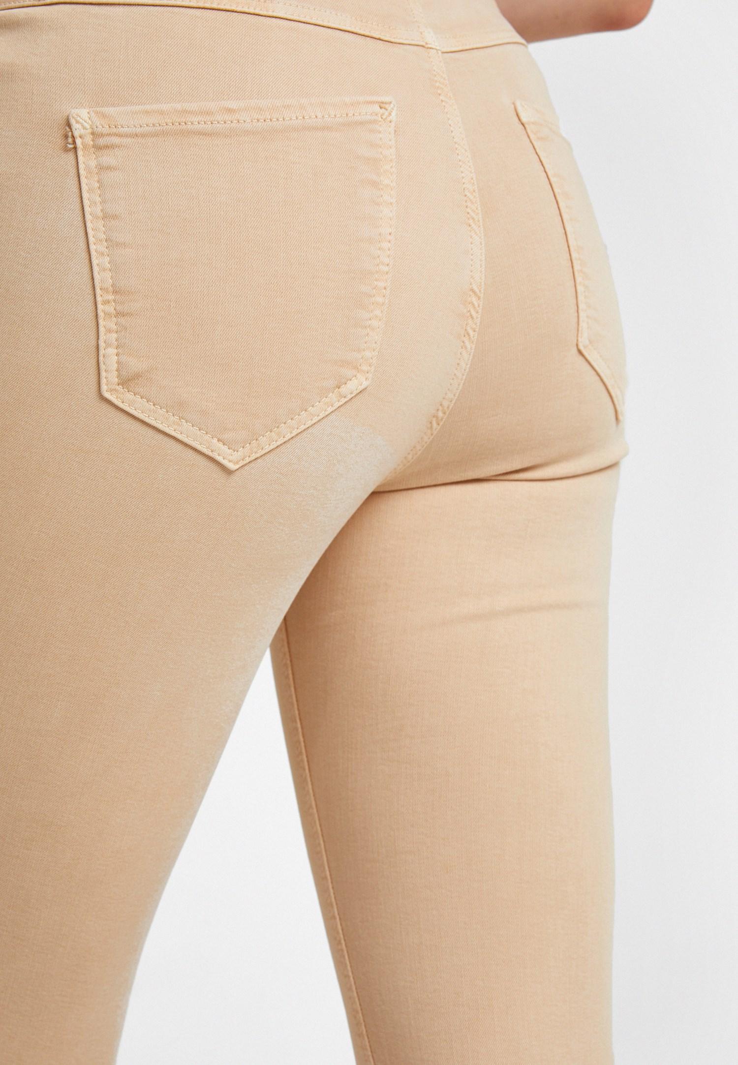 Bayan Krem Yüksek Bel Pantolon