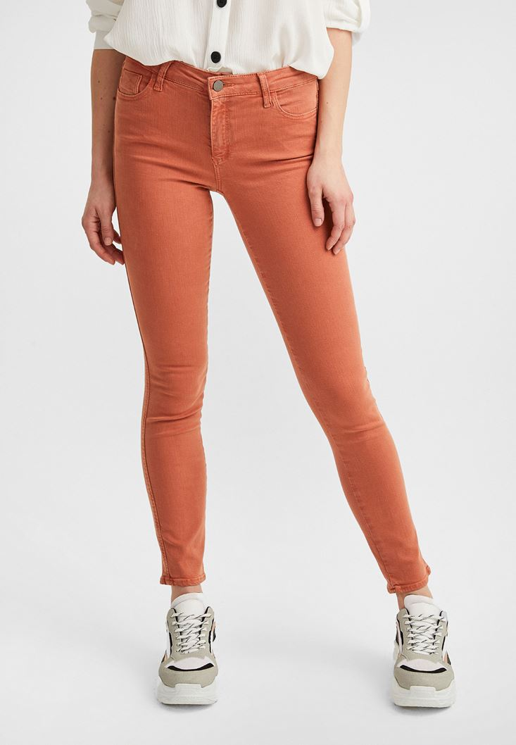 Orange Mid Rise Skinny Pants