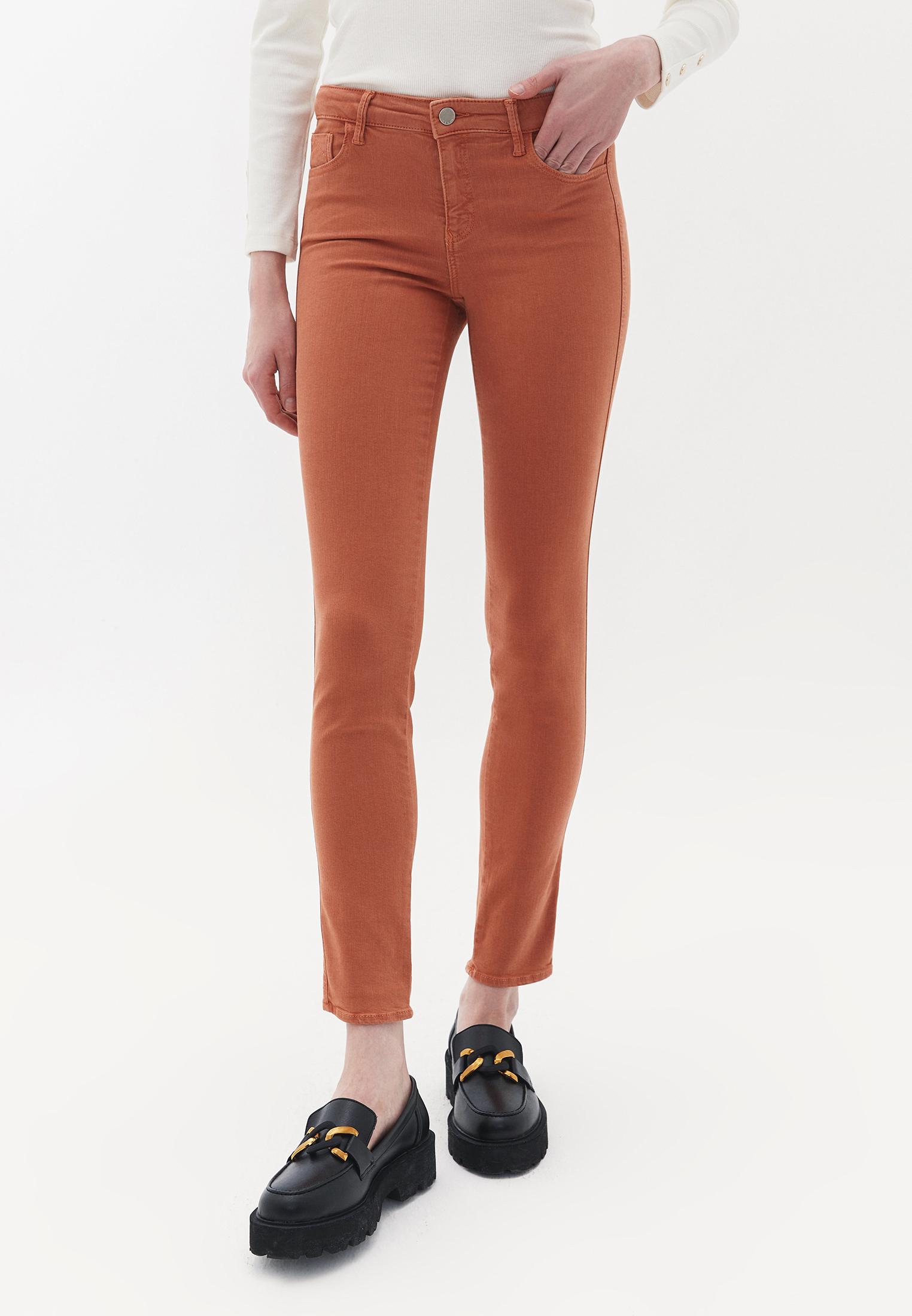 Bayan Turuncu Orta Bel Dar Paça Pantolon