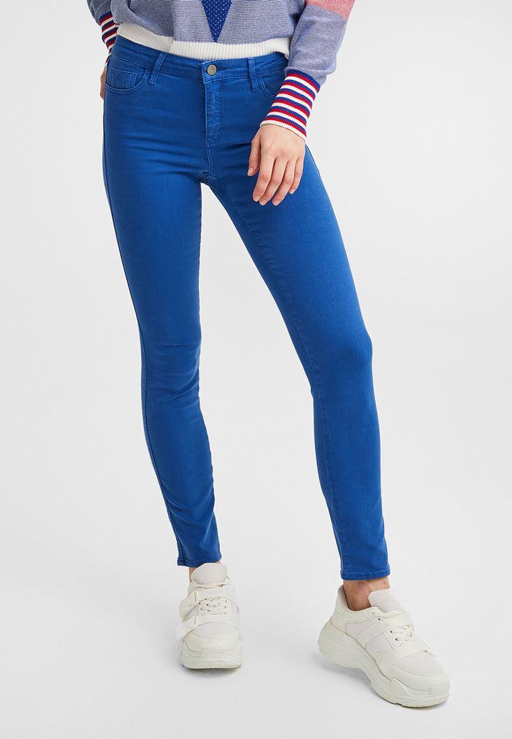 Blue Mid Rise Skinny Pants