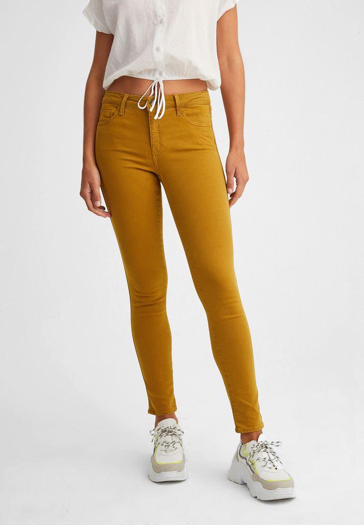 Sarı Orta Bel Dar Paça Pantolon