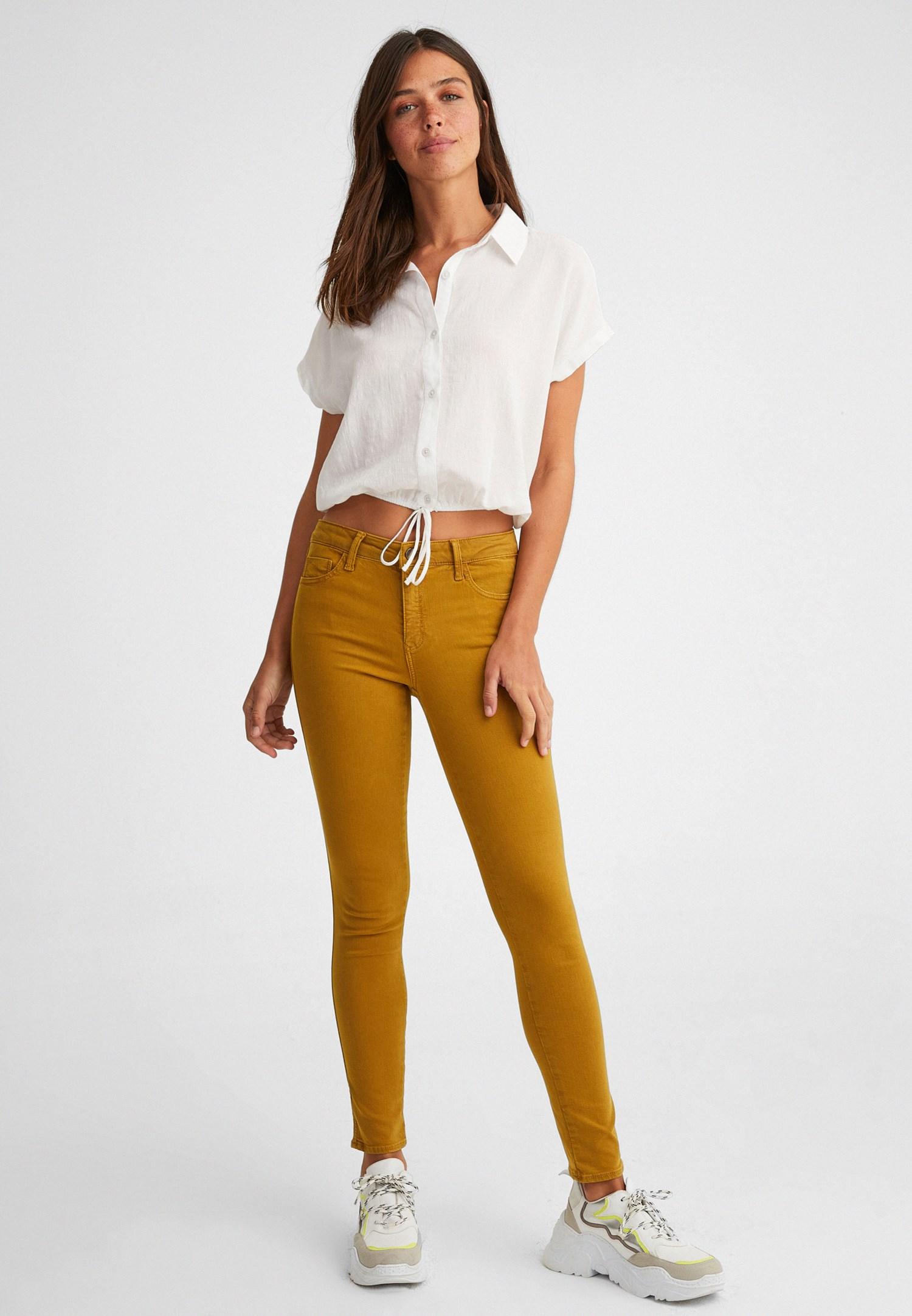 Bayan Sarı Orta Bel Dar Paça Pantolon