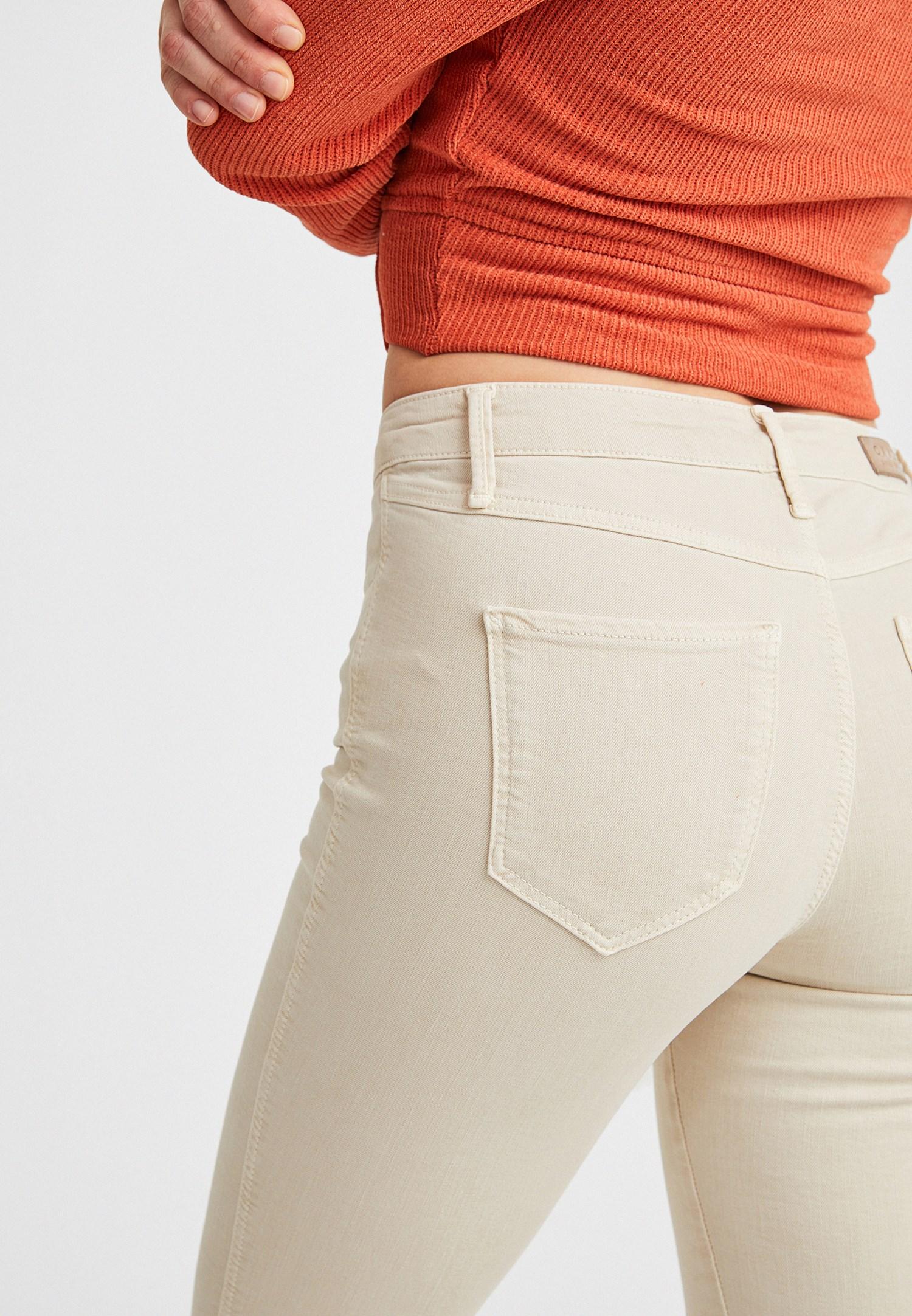 Bayan Krem Orta Bel Dar Paça Pantolon