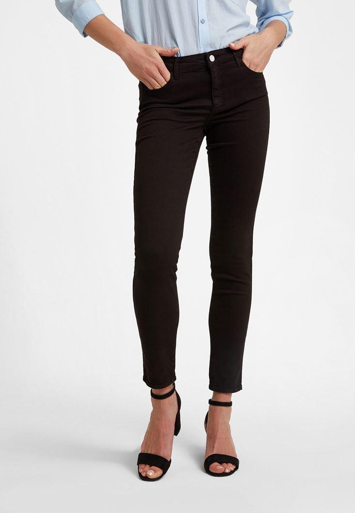 Siyah Orta Bel Dar Paça Pantolon