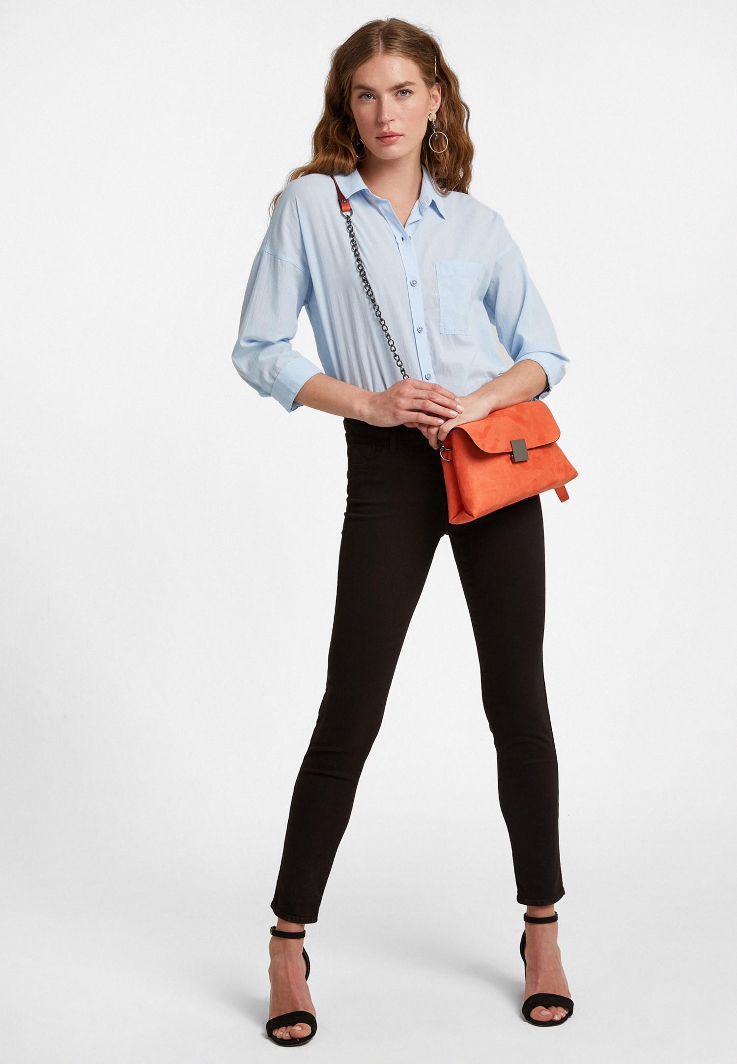 Bayan Siyah Orta Bel Dar Paça Pantolon