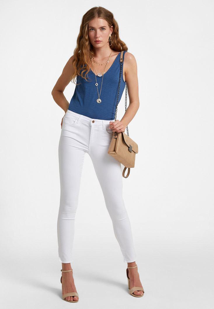 Beyaz Orta Bel Dar Paça Pantolon