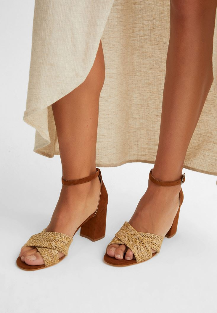 Brown High Heels with Straw Detail