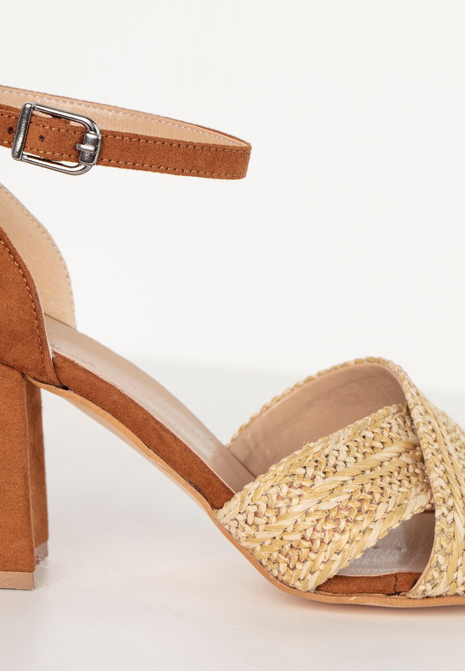 Bayan Kahverengi Topuklu Hasır Ayakkabı