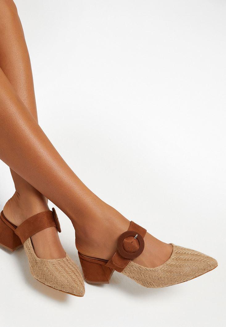 Kahverengi Topuklu Hasır Terlik