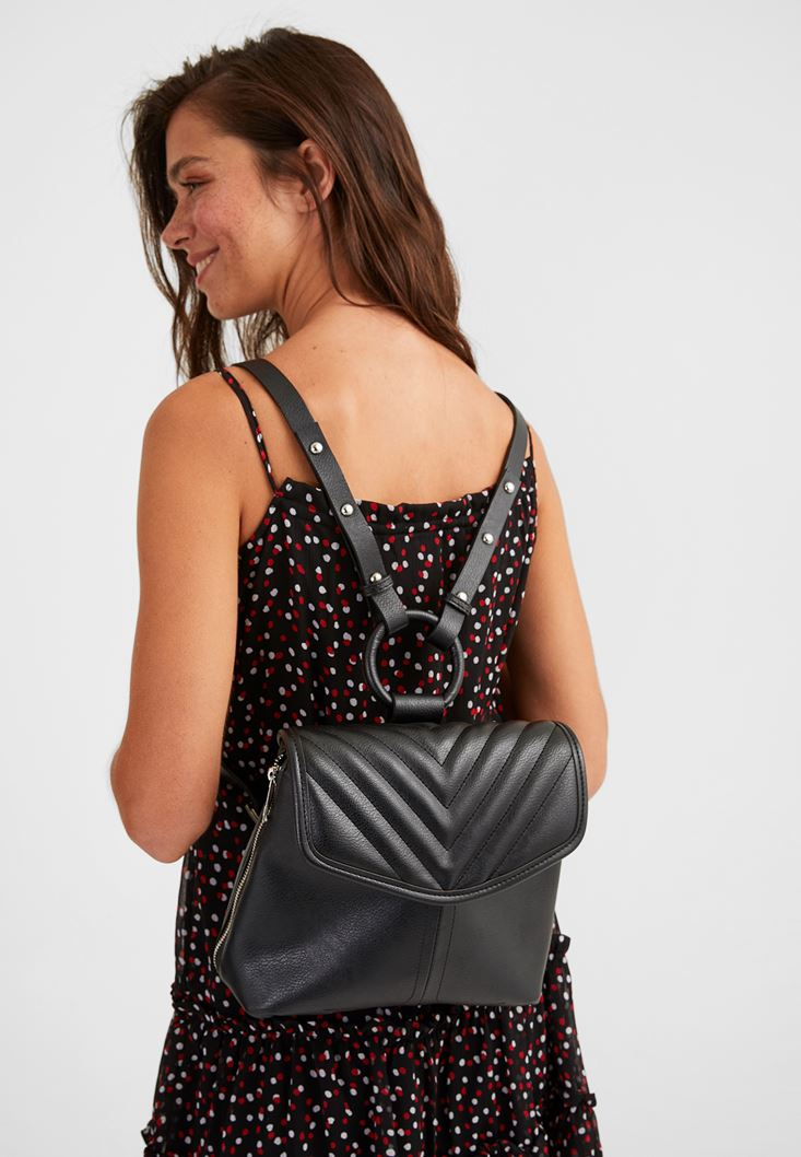 Black Backpack with Zip Detail