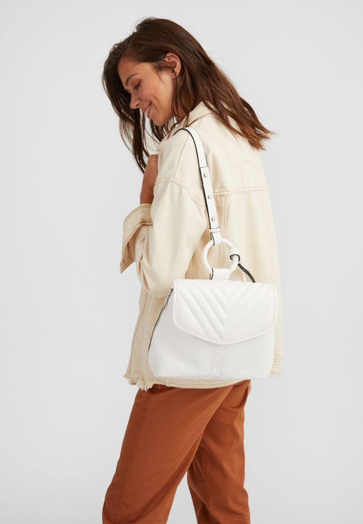 White Backpack with Zip Detail